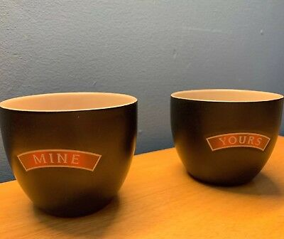 "Baileys Irish Cream Desert Ceramic Bowls Cups Mugs ""Yours & Mine"" Set of 2"