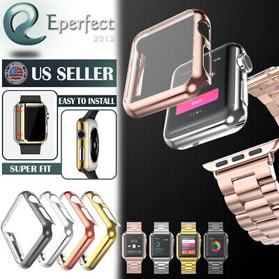 For Apple Watch Series 3 Snap On Hard Case Cover with Screen Protector 38mm 42mm
