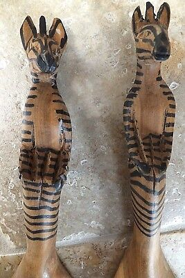 Salad Servers Spoon Fork Set African Wood Hand Carved Zebra