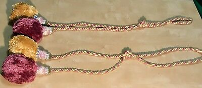 "Set-2 MacKenzie Childs Long Curtain Tie Back Tassel Tassels w Pom Poms 72"" 6 FT!"