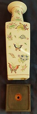 "Chinese Porcelain Vase & wood stand 18 3/4"" Butterflies A.C.F. HONG KONG Rare"
