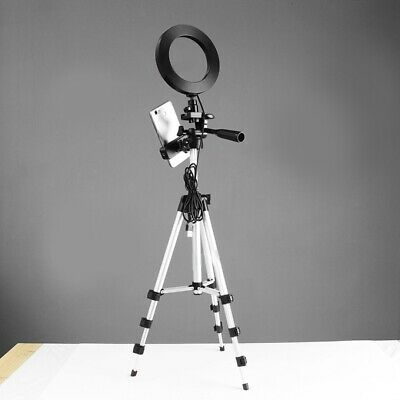 Dimmable LED Ring Light Camera Phone Holder Photo Video Live Lamp + Tripod Stand