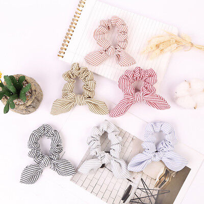 Women Girl Striped Hair Ring Rope Bow knot Scrunchies Ponytail Holder Tie Cute