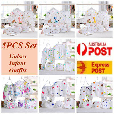 5pcs Newborn Baby Clothes Unisex Infant Outfits Layette Set With Dot Sleep Set