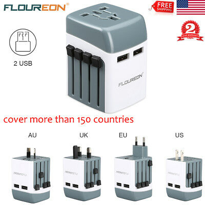 Universal Travel Adapter Wall Charger AU US EU AC Power Plug Converter Dual USB
