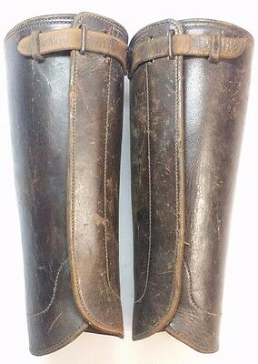 Antique Leather Military Infantry Wwi Shin Guards Spats Leggings Gaiters Puttees