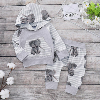 Newborn Baby Girls Boy Hooded Tops Pants Autumn Clothes Outfits Sets Tracksuit