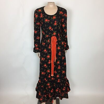 Vintage 1960's 70's Fred Rothschild Women's Maxi Dress Black Red Floral USA AA25