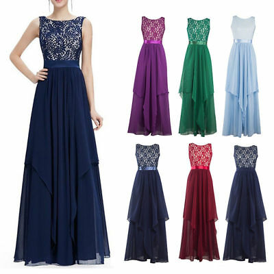 Women Chiffon Long Sleevele Cocktail Formal Party Evening Wedding Maxi Ball Gown