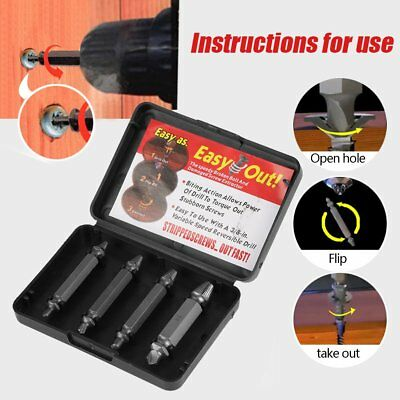 4Pcs Screw Extractor Kit Guide Broken Damaged Bolt Remover Drill Bits Set