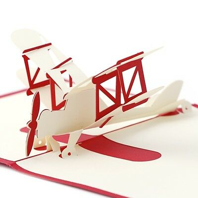 3D Pop Up Greeting Card Plane Happy Birthday New Gift Festival Party