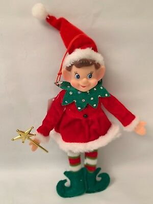 "Elf Large Christmas Ornament Rubber Face 8.5"" Fully Posable Nwt"