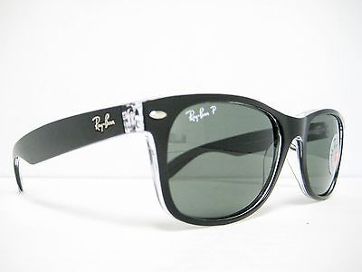60e2421e468 new Ray Ban Wayfarer polarized Black Transparent Green 55mm RB2132 605258