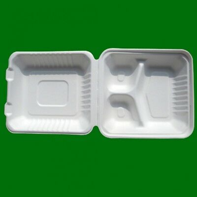 "8"" 3 Compartments Eco-Friendly Hinged Food Take Out To-Go Clamshell Container"