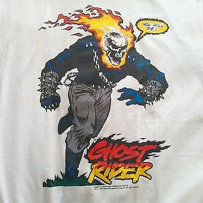 """Vintage 1991 NOS """"YOU WILL DIE"""" Ghost Rider T-Shirt White Large Rare Marvel"""