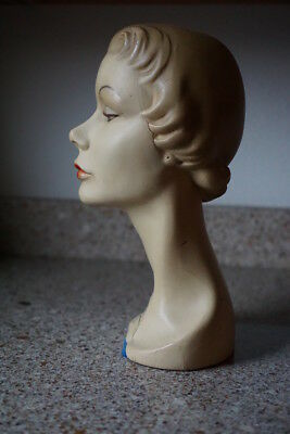 Antique Female Mature Woman Bust Mannequin Head Wig Hat Display French Lady Girl