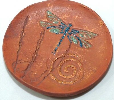Dragonfly Artisan Handcrafted Decorative Clay Pottery Plate Art 4 1/2 inch