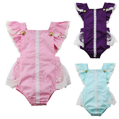 Cute Newborn Baby Girls Lace Bodysuit Romper Jumpsuit Sunsuit Outfit Clothes
