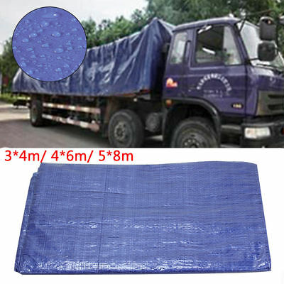 Heavy Duty Tarpaulin Blue Waterproof Strong Cover Sheet Tarp UK Stock 5x8M Blue