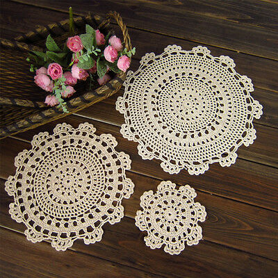 Vintage Handmade Crochet Doilies Cotton Table Cloth Doily Cover Placemat Coaster