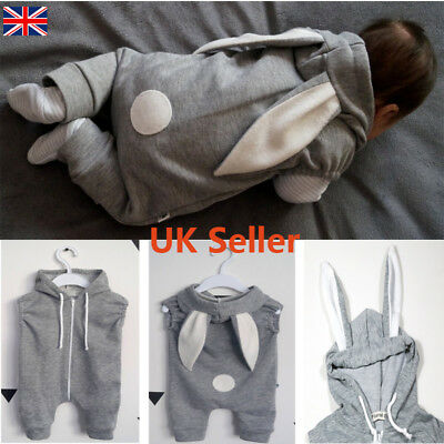 Newborn Toddler Baby Boy Girl Rabbit Hooded Jumpsuits Romper Crawl Outfit Sets