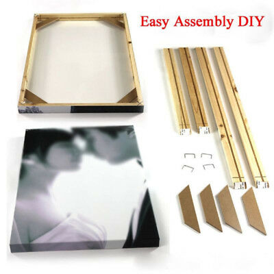 Wood Wooden Stretcher Bars Frame Set For Canvas Wall/Art Painting U-shape Nails