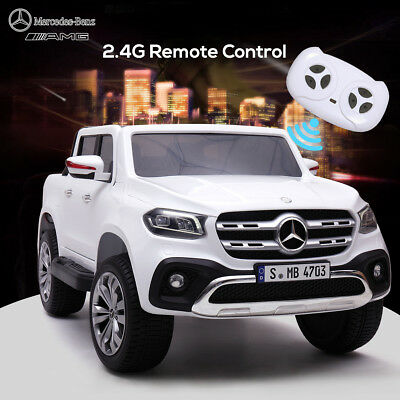 White 12V Benz Kids Ride on Truck Motorized Cars Electric Bluetooth w/Remote