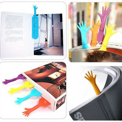 4pcs Adorable Hand Shape Bookmark Plastic Fancy Cartoon Stationery Supplies