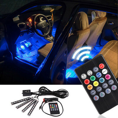 4 in 1 LED Car Interior Strip Lights Color Changing Music Light Sound & Remote D