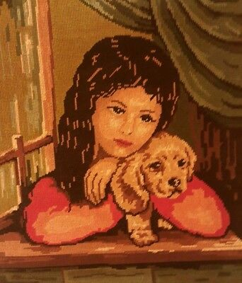 Vintage Needlepoint Completed Canvas Tapestry Portrait Girl with Dog 18*15.8""