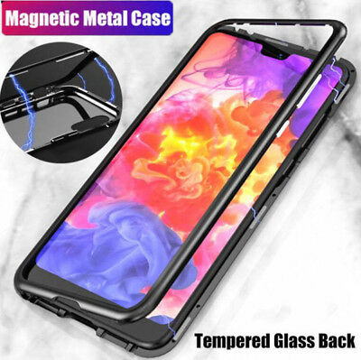 For Huawei Mate 20 Pro/Lite Magnetic Absorption Metal Bumper Glass Case Cover