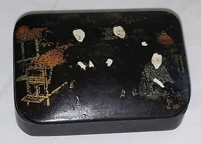 Chinese lacquered papier mache vintage pre Victorian antique snuff box