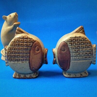 70s Retro Japanese Red Ware - Fish Salt & Pepper Shakers - 9cm Tall - Perfect