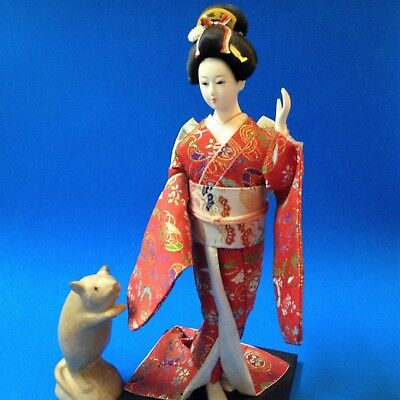 Japanese Geisha Doll - 30cm Tall - Red Brocade Kimono, On Wood Base