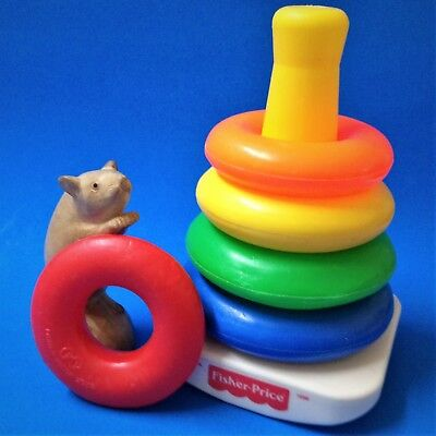 1980's Vintage - Fisher Price Rock-a-Stack - Complete 5 Coloured Rings & Stacker
