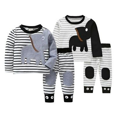 Toddler Baby Boys Long Sleeve Stripe Nightwear Pajamas Set 2Pcs Clothes Top+Pant