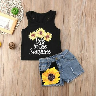 Toddler Kids Baby Girl Sunflower Tops T-Shirt+Denim Shorts 2PCS Outfits Clothes