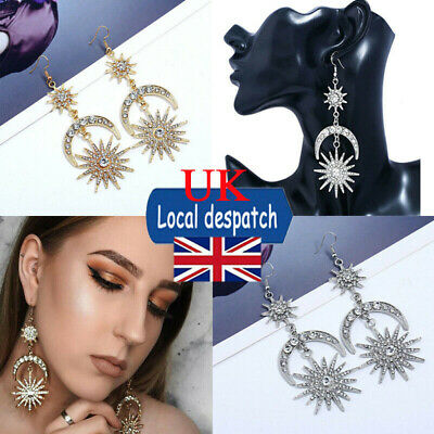 Women Large Moon Sun Star Earrings Vintage Gold Tone Diamante Crystal Long Drop