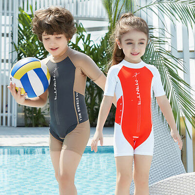 Kids Boys Girls Swimming Suit Short Sleeve Pants One-piece Beachwear Diving suit