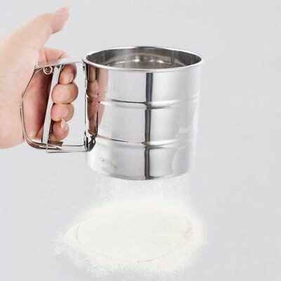 Stainless Steel Mesh Flour Sifter Mechanical Baking Icing Sugar Shaker Sieve 4W