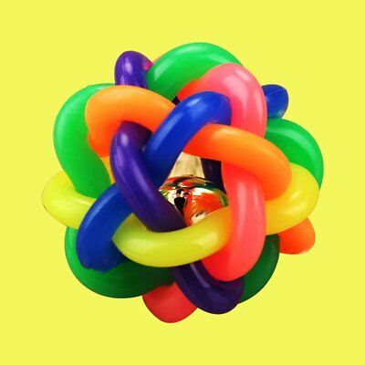 Colorful Rubber Dog Toys Pet Dog Cat Toy Round Woven Ball with Small Bell Toy  K