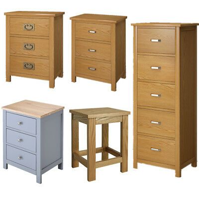 3 5 Drawers Solid Oak Wood Bedside Table Cabinets Unit Nightstand Storage Chest