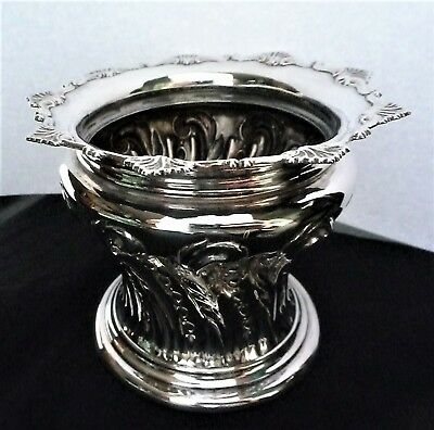 Edwardian English Sterling Silver Ornate Embossed Vase by William Hutton