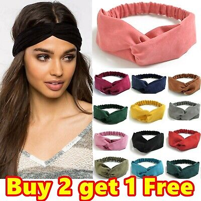 Stretchy Twist Knot Sports Suede Nonslip Headband Plain Elastic Head Hair Band