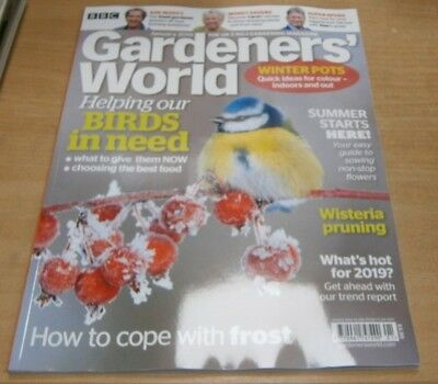 BBC Gardeners' World magazine Jan 2019 Helping birds in need+ coping with frost