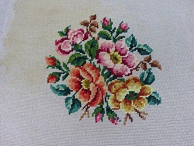 Pretty Needlepoint Tapestry Stool Pillow Seat Cover Antique Vintage Floral Trim