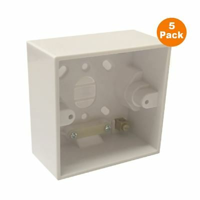 5 x Surface Mounted 41mm Deep Back Box Single Pattress, Shower & Cooker Switches
