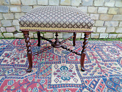 Regency Rosewood Stool- Spiral Turns- Newly Upholstered