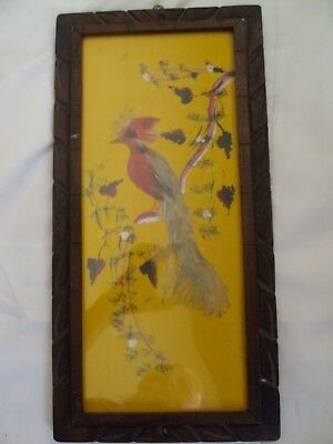 Vintage 1940's Mexican Folk Art Feathercraft Bird Picture Carved Wood Frame