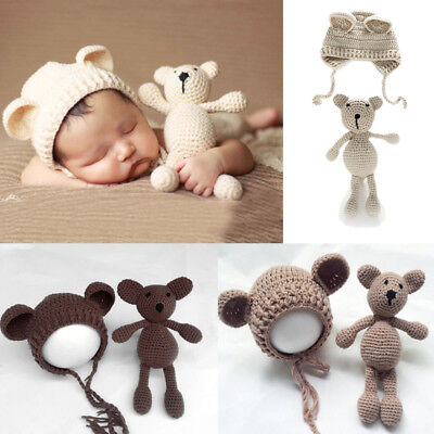 Newborn Baby Crochet Knit Hat with Bear Dolls Photo Photography Prop Cap J2X6